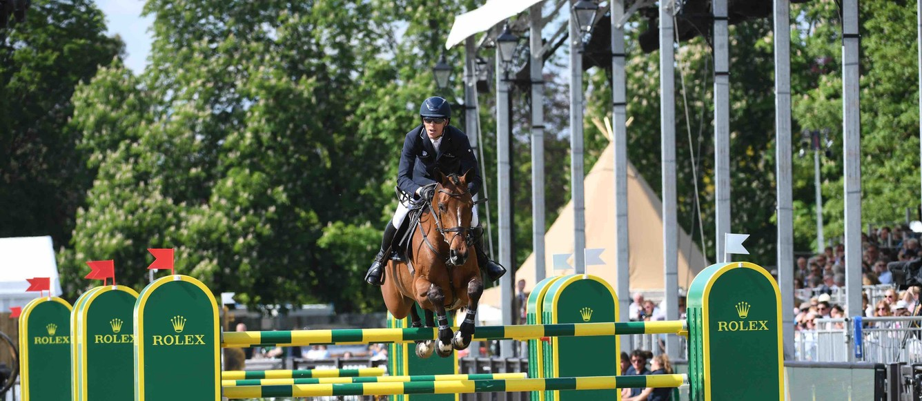 Rolex Grand Prix winnerToveks Mary Lou and Henrik Von Eckermannduring the Royal Windsor Horse Show held in the private grounds of Windsor Castle in Berkshire in the UK between on 8th-12th May 2019