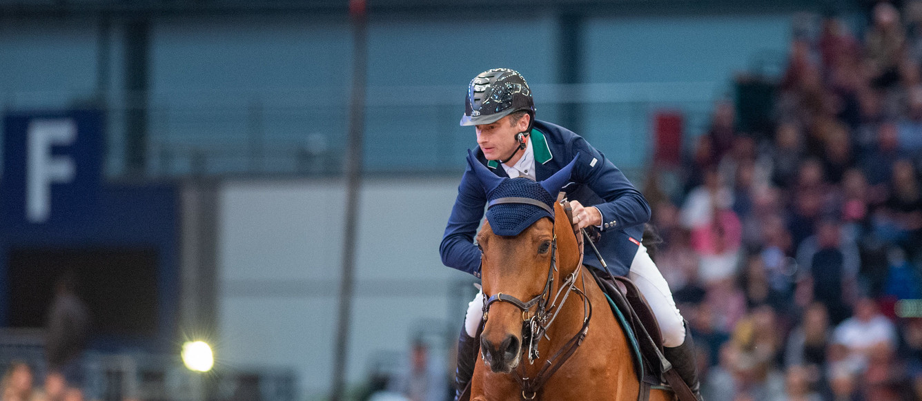 LEIPZIG, GERMANY - JANUARY 19: Denis LYNCH of Ireland riding GC Chopin's Bushi  at Longines FEI Worldcup Jumping \n - Partner Pferd 2020  on January 19, 2020 in Leipzig, .